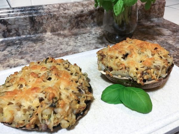 quick and easy recipe, healthy recipe, food guides, crab stuffed mushroom recipe, portobello mushroom with crab, weight loss, healthy cookbook, clean eating, non-processed food, HIIT workouts, at-home workout
