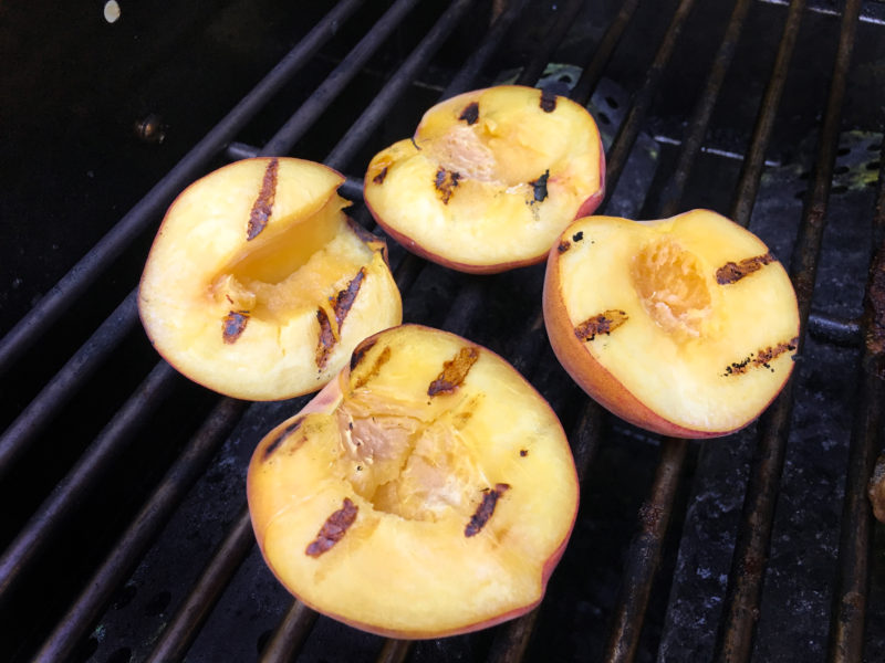 Gourmet Grilled Peaches Topped with Goat Cheese and Balsamic Vinegar