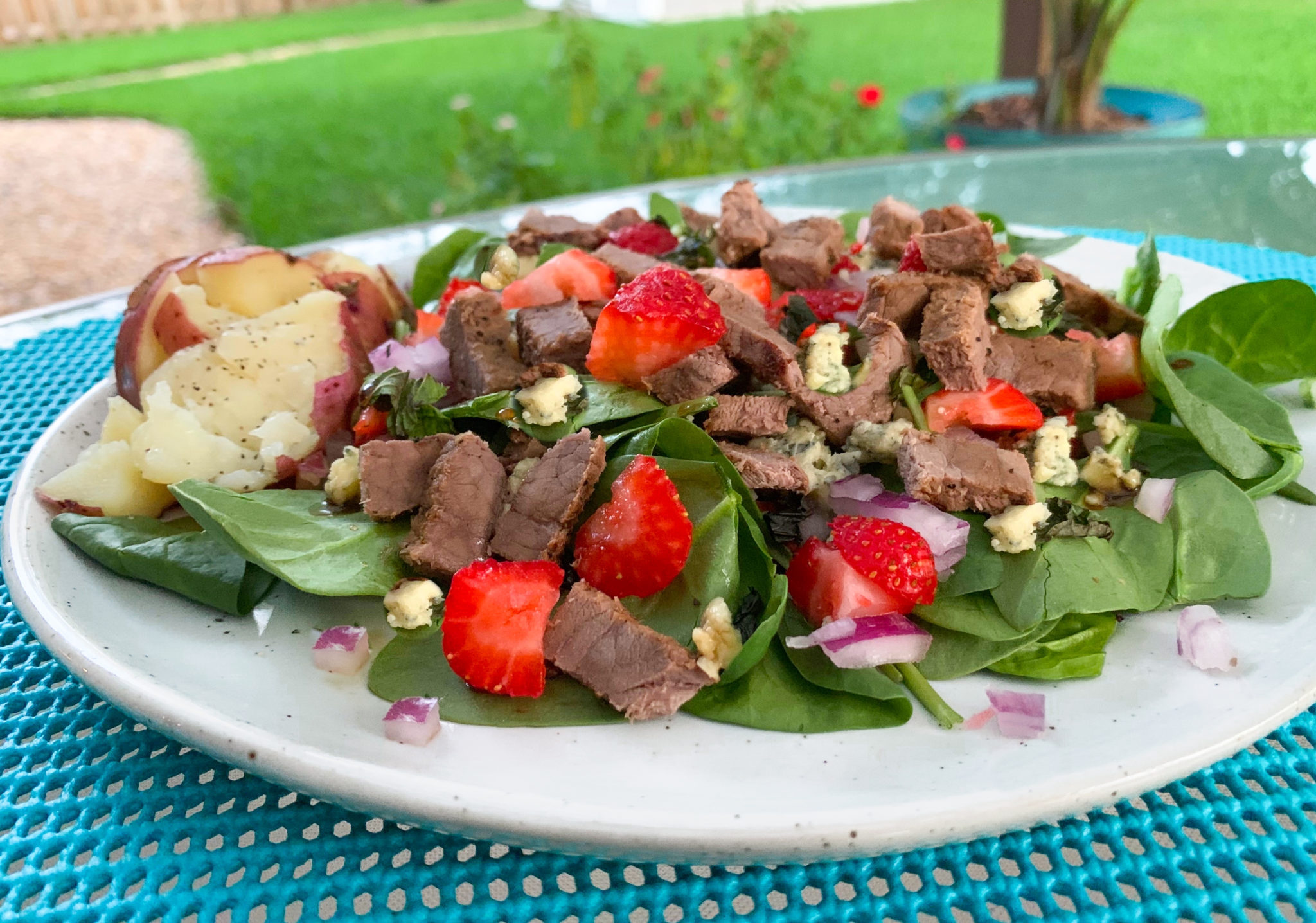 Black and Blue Grilled Steak Salad with Balsamic Dressing
