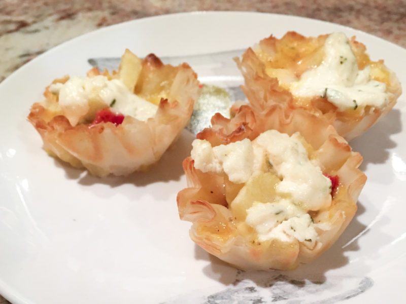 Bacon, Apple and Boursin Mini Quiches in a Phyllo Shell