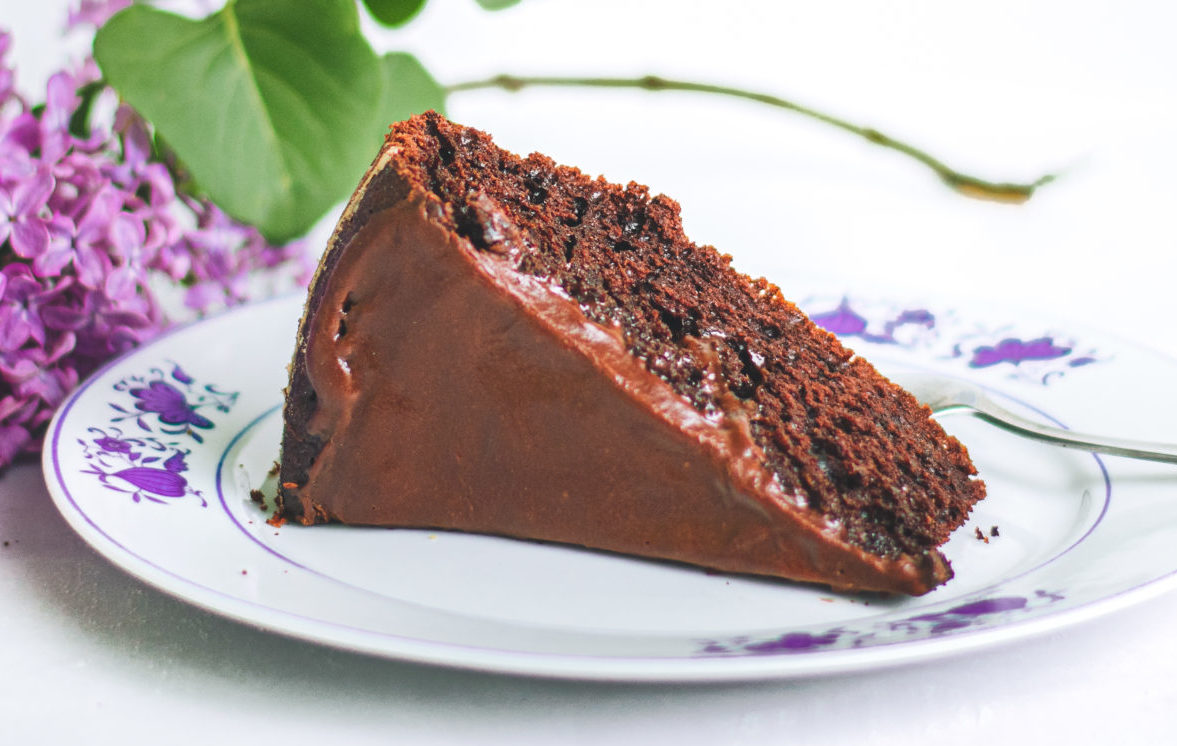 Chocolate Cake with Chocolate Chickpea Ganache Frosting (Dairy-Free)