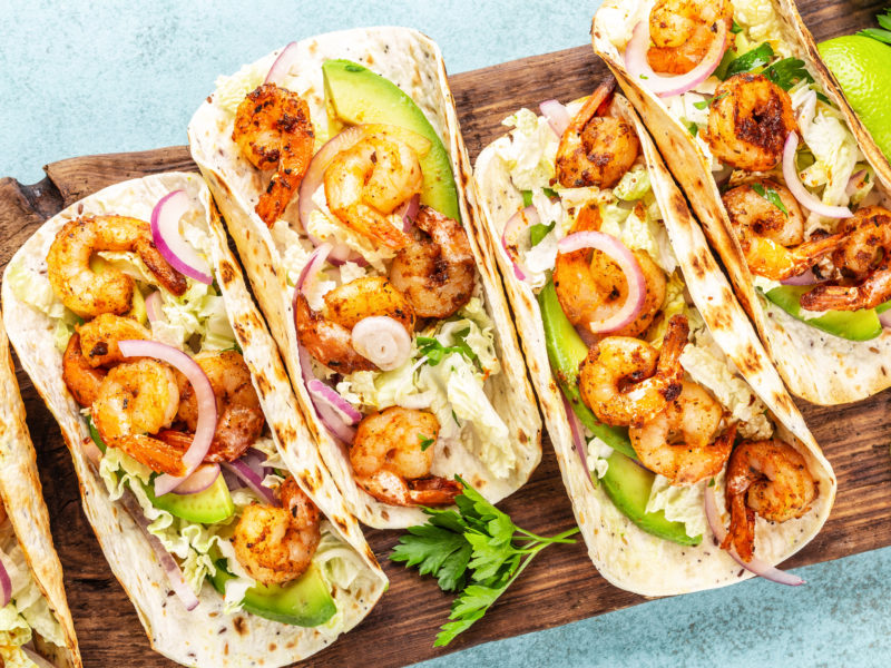 Grilled Pineapple and BBQ Shrimp Tacos