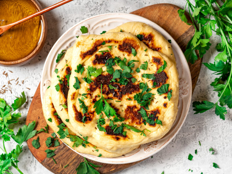 Whole Wheat Naan (Paratha) with Garlic Cilantro Butter